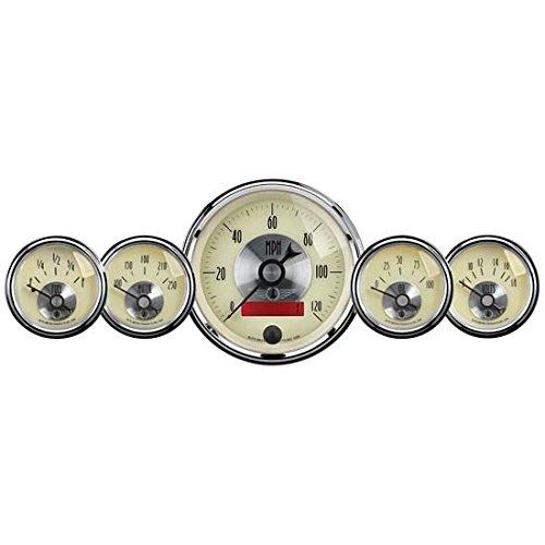 Temperature Gauge Oil Lcd - Auto Meter 2000 Prestige Antique Ivory LCD Odometer Gauge - 5 Piece