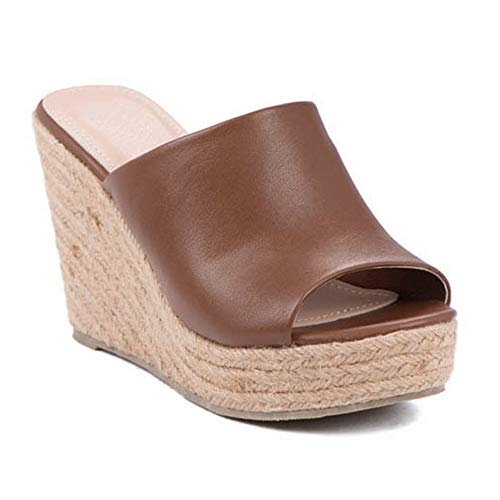 (ShoBeautiful Women's Espadrille Platform Wedge Heel Peep Toe PU Sandals Summer Fashion Slippers EM04 Tan 7)