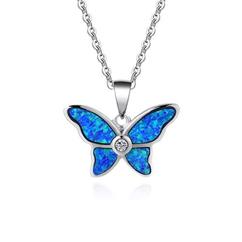 Fancime 925 Sterling Silver Butterfly Necklace Blue Created Opal Dainty Pendant Jewelry for Women Girls 18