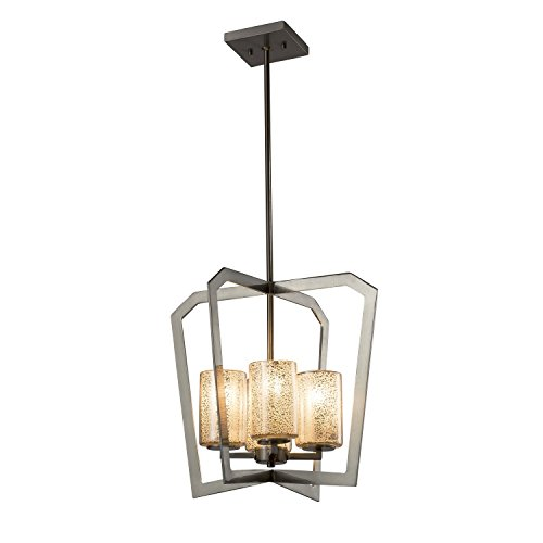 Fusion - Aria 4-Light Intersecting Chandelier - Cylinder with Flat Rim Artisan Glass Shade in Mercury - Brushed Nickel Finish - (Fusion Transitional Chandelier)