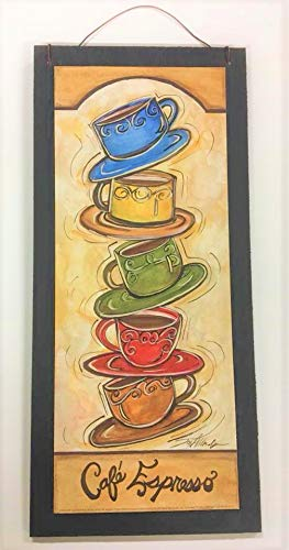 Cafe Espresso Stacked Coffee Mugs Kitchen Wooden Wall Art -