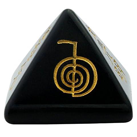 rockcloud Healing Crystal Black Obsidian Orgone Chakra Pyramid Metaphysical Stone Figurine