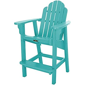 Amazon Com Polywood Adirondack Bar Height Chair White
