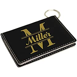 Personalized ID Holder Keychain Wallet - Custom Engraved and Monogrammed