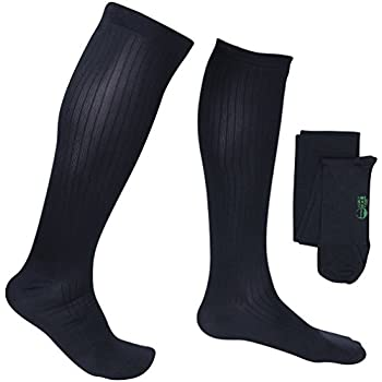 EvoNation Mens USA Made Graduated Compression Socks 8-15 mmHg Mild Pressure Medical Quality Knee High Orthopedic Support Stockings Hose - Best Comfort Fit, ...