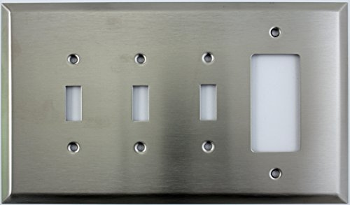 (Over Sized Jumbo Satin Stainless Steel 4 Gang Switch Plate - 3 Toggle Light Switch 1 GFI Outlet/Rocker )