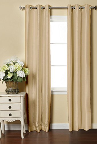 LUSHOMES Cream Dupion Silk Curtain with 6 Plastic Eyelets (Pack of 2 pcs) for Doors
