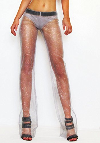 Bohemian Silver Grey Sparkle Glitter Nude Mesh Pants/ Festival Pants/ Dance Pants/ Beach Cover-Up Pants/ Flare Pants/ Playa Attire