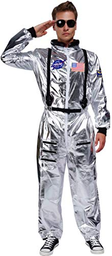 Silver Space Suit Costume (Maxim Party Supplies Adult Astronaut Costume Jumpsuit Silver Space Suit for Men with Embroidered Patches and Pockets)