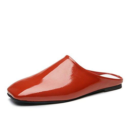Kvinna Klassiska Avslappnade Backless Plattform Slip-on Chunky Blocket Häl Mulor Jyqj36h Lilja Orange Red