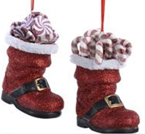 (Set of 2 Santa Boots with Peppermint Candy Christmas Ornaments by Kurt Adler)