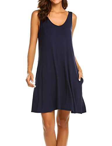 Cotton Sleeveless Cover Up - LuckyMore Women's Sexy Casual Summer V Neck Sleeveless Blouse Shirt Dress with Pockets Navy Blue L