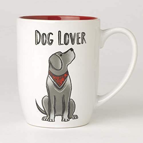 PetRageous Dog Lover Mug in White/Red, 24 oz