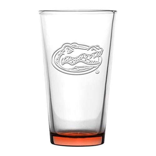 Florida Gators Embossed Pint Glass 16 oz. (2 pack) (Gator Beer Glasses)