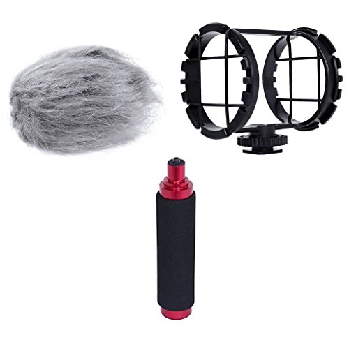 Movo AEK-Z1 Accessory Kit for the Zoom H1 & H1n Handy Recorder (Includes Shockmount, Camera Shoe, Furry Windsceeen & Hand Grip)