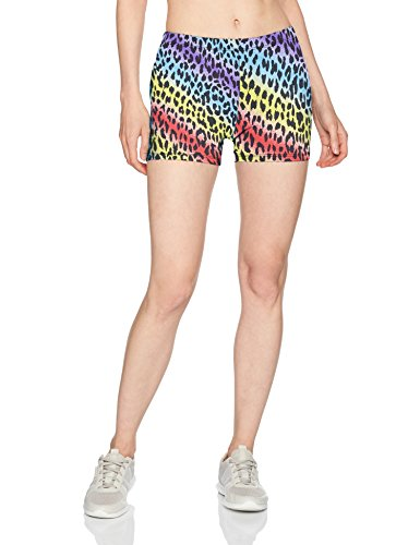 Soffe Women's Juniors Printed Compression Shorts, Rainbow Cheetah Small
