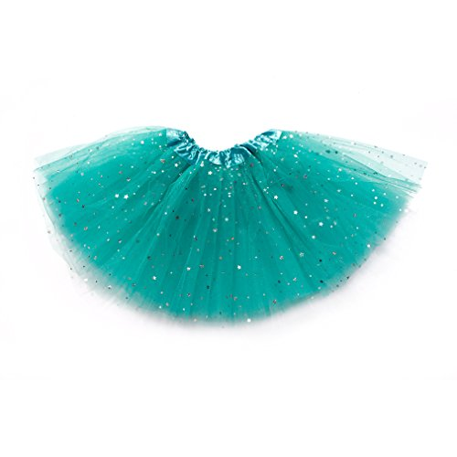 Dreamdanceworks Girls Layered Stars Sequins Tutu Skirt Princess Fluffy Ballet Tutus (Teal)