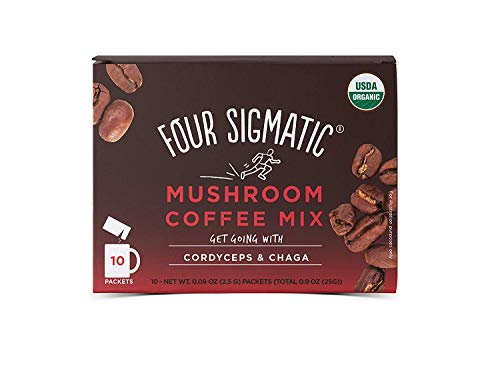 (Four Sigmatic Mushroom Coffee, USDA Organic Coffee with Cordyceps and Chaga mushrooms, Paleo, 18 Count (18 Count))
