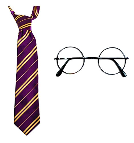 Harry Potter Halloween Costume accessories - Novelty Glasses and Gryffindor Tie by Unknown