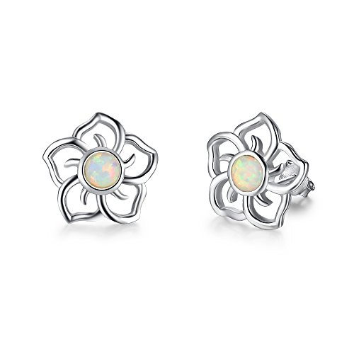20MM 925 Sterling Silver Opal Simulated Coral Carved Rose Flower Earrings (Rose Flower Carved Coral)
