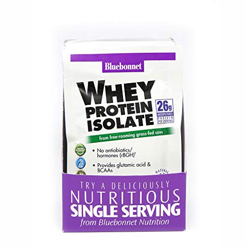 Bluebonnet Nutrition Whey Protein Isolate Powder, Whey From Grass Fed Cows, 26g of Protein, No Sugar Added, Non GMO, Gluten Free, Soy free, kosher Dairy, 8Count, 8 Servings, Mixed Berry Flavor