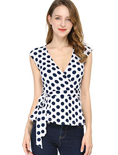Allegra K Women's V Neck Sleeveless Self Tie Wrap Front Dotted Top XL White ()