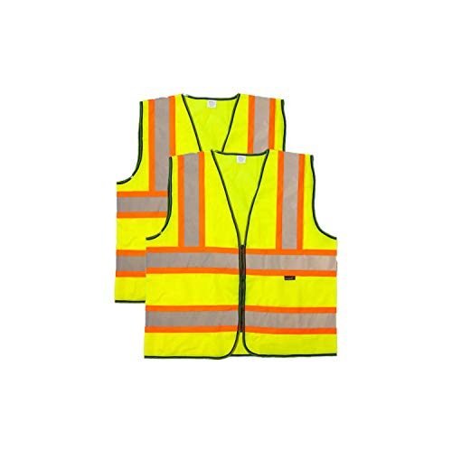 (SAFE HANDLER Contrasting Reflective Safety Vest | Lightweight and comfortable, bright colors for maximum visibility, knit polyester fabric, X-Large, 2 PACK)