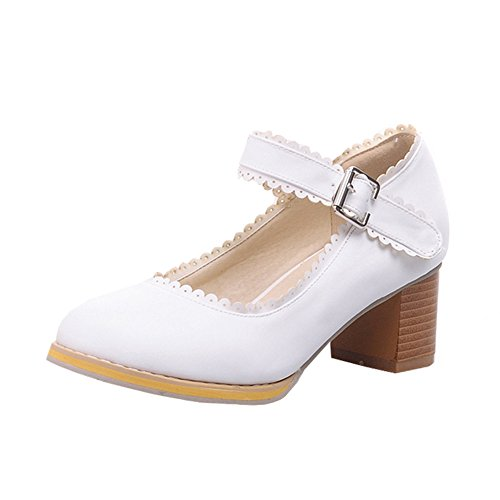 fereshte Ladies Women's Round-Toe Chunky Middle-High Heels Pumps Office Work Student Lace Bridal Wedding Shoes White DHQHw41v