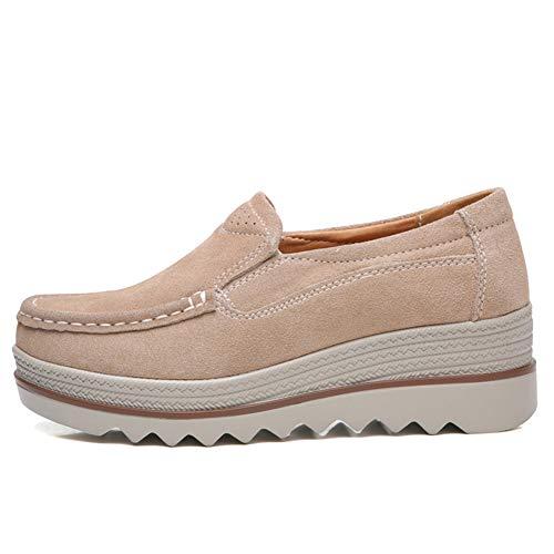 Wide Tan 3088 Suede Platform Loafers Sneakers Women's Shoes Slip On Wedge ZYEN Moccasin Comfortable Sxq1w0FO