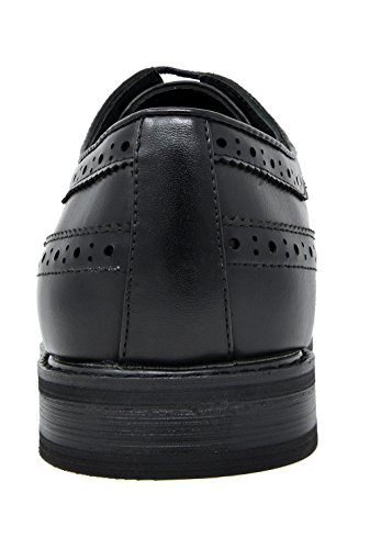 Bruno Marc Men's Prince-10 Black Leather Lined Wing-Tip Dress Oxfords Shoes – 12 M US