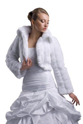 Veste de marie Bolro avec col, fausse fourrure de vison, manches longues Blanc