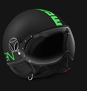 MOMO NUEVO CASCO DESIGN FROST FIGHTER MOD. 2016 NEGRO VERDE FLÚOR TG ML