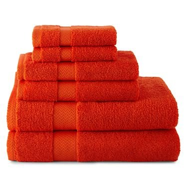 Tangerine Tango-6-pc. Towel Set Includes:- Two 30x 54 Bath Towels; Two 16x 28 Hand Towels; Two 13x 13 Washcloths; Cotton. Washable. Imported. JCPenney Home 001874