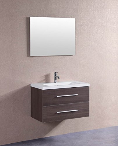Wall Hung Vanity (Belvedere Designs T9019A-V Modern Floating Veneer Bathroom Vanity, 32