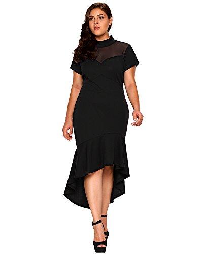 cbee7daf0af80 Lalagen Women's Short Sleeves Plus Size Bodycon Mermaid Cocktail Dress  Black XL