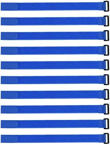 uxcell フックとループのストラップ25mm x 400mmストラップ固定 再利用可能な固定ケーブルタイ (ブルー)10個