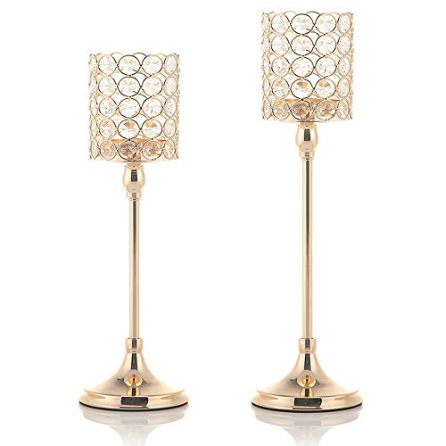 VINCIGANT Gold Tea Light Candle Holders Set of 2 for Mother's Day Coffee Table Decorative Centerpieces,14 and 16 Inches Tall ()