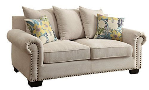 HOMES: Inside + Out Iohomes Kirllie Ivory Fabric Loveseat