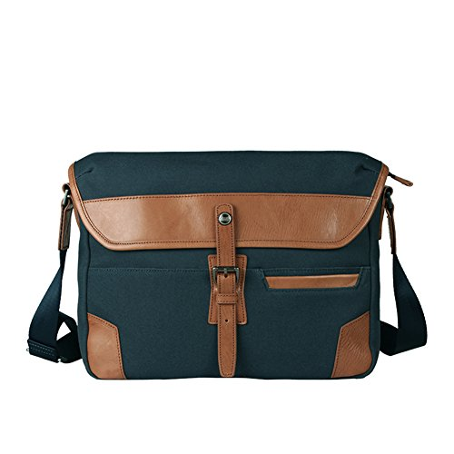 MIRUKU Herren taschen messenger,Schulter Leder Leder Vintage canvas Messenger Laptop Geschäftlich Für unterwegs-B 33x24x9cm(13x9.4x3.5inch)