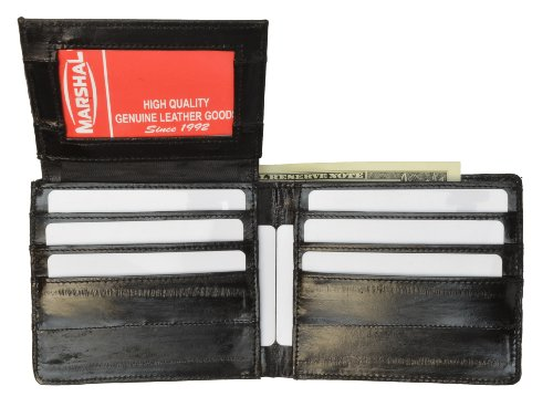 Eel Skin (100%Genuine EEl Skin Bi-fold Mens Wallet Black #E316)