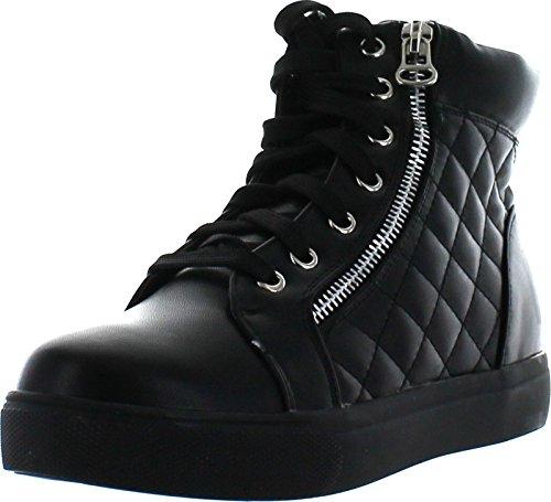 Via Pinky Pazzle Skridsko-01 Womens Vadderade Snörning Ankel Höga Sneakers Svart Pu