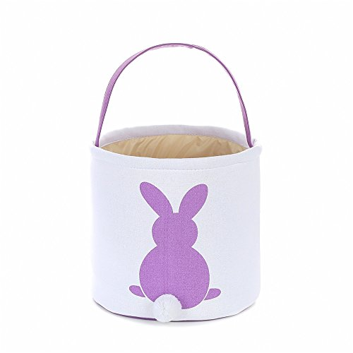 Foldable Easter Basket Easter Bunny Bag Easter Eggs Hunt Bag Gifts/Fluffy Tails Printed Rabbit Canvas Toys Bucket Tote (Purple) ()
