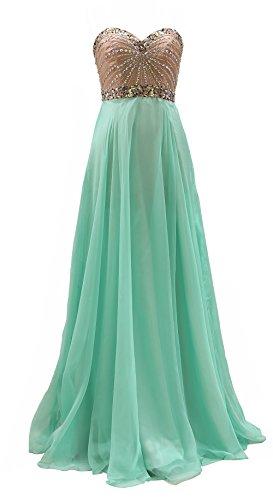 MACloth Women Rhinestone Mint Chiffon Long Wedding Party Prom Dress Formal Gown (6, Mint)