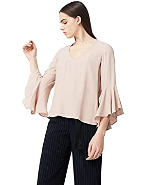 Mango Women's Ruffled Sleeve Blouse