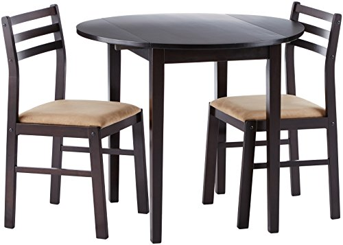 Coaster Home Furnishings 3-piece Dining Set with Drop Leaf Cappuccino and Tan (Round Chairs For Table)