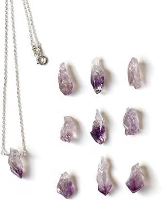Collar de amatista natural en bruto de plata de ley y cuarzo morado, colgante de piedra de lila, piedra natal de febrero, regalo de joyería rústica de 13 mm a 19 mm