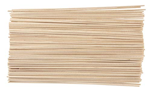 Juvale Wood Dowel Rods - 200-Pack Wood Sticks, Unfinished Hardwood Dowels, Craft Woods, for DIY Craft Art Projects, Gardening, Planting, Wedding Ribbon Wands, 0.12 Inches Diameter, 12 Inches Long -