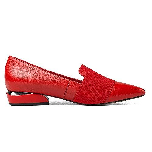 Nio Sju Äkta Läder Womens Pekade Tå Platt Klack Bekväm Handgjorda Platta Skor Röd
