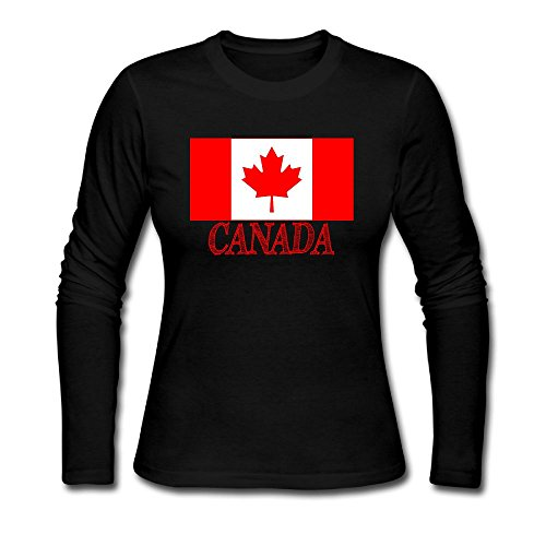 Women Canada Flag Patch, Canadian Maple Leaf Patch Long Sleeve Athletic Cotton Crew Neck - Sunglasses Versace Canada