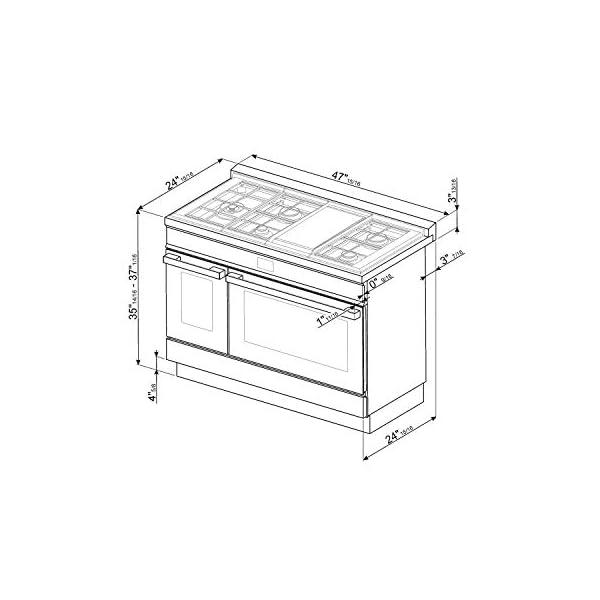 Smeg Portofino Pro-Style Aesthetic Series 48-Inch Freestanding Dual Fuel Range (Orange) 2